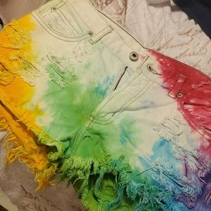 Guess Tie Dye Studded Distressed Shorts